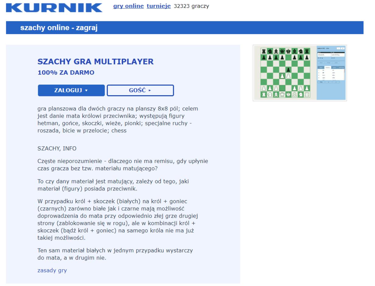 Graj w szachy online na Kurniku