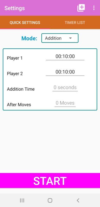 Ustawienia aplikacji Chess Timer do odmierzania czasu