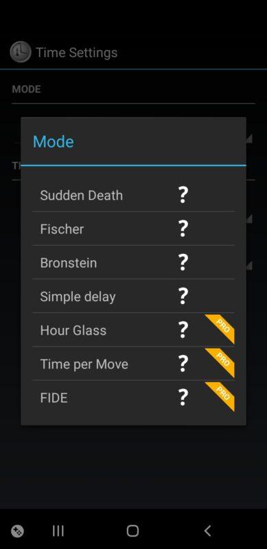 Ustawienia aplikacji Chess Clock.